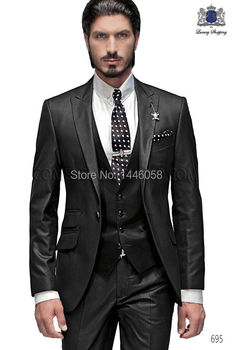 Best Selling 2018 Custom Business Mens Suits Italian Black Wedding Suits For Men Groom Suit Men Tuxedo Suits (Jacket+Pants+Vest)