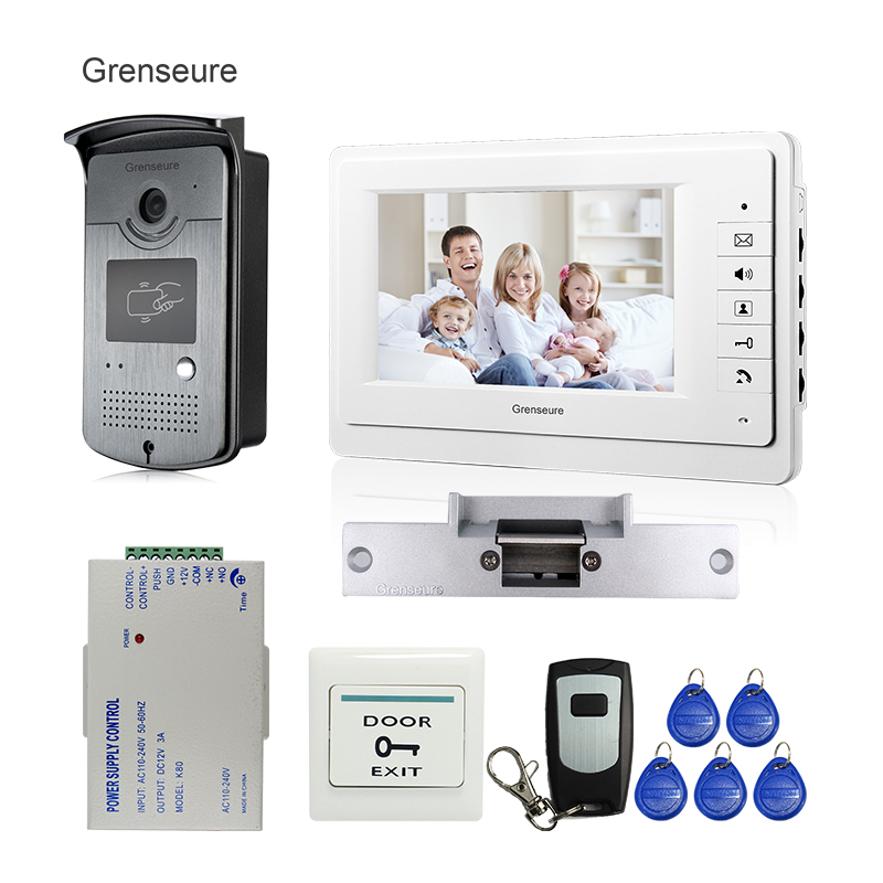 Free Shipping New Home 7 Video Intercom Door Phone System + RFID Reader Camera + Electric Strike Lock + Remote Control In Stock wholesale new white rfid card reader code keypad door access control system electric strike door lock in stock free shipping