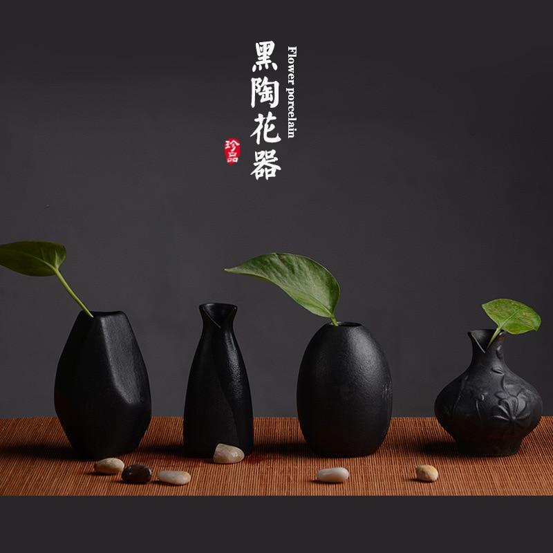 cermica florero arreglo floral hecho a mano de la vendimia negro cermica cermica decoracin sala de