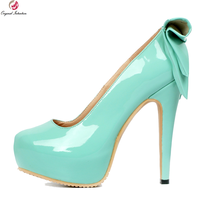 Original Intention New Elegant Women Pumps Stylish Platform Round Toe Thin High Heels Pumps Blue Shoes Woman Plus US Size 4-20 women elegant black blue red suede silk bowtie round toe platform 3 inch high heel deep single shoes ladies pumps for woman