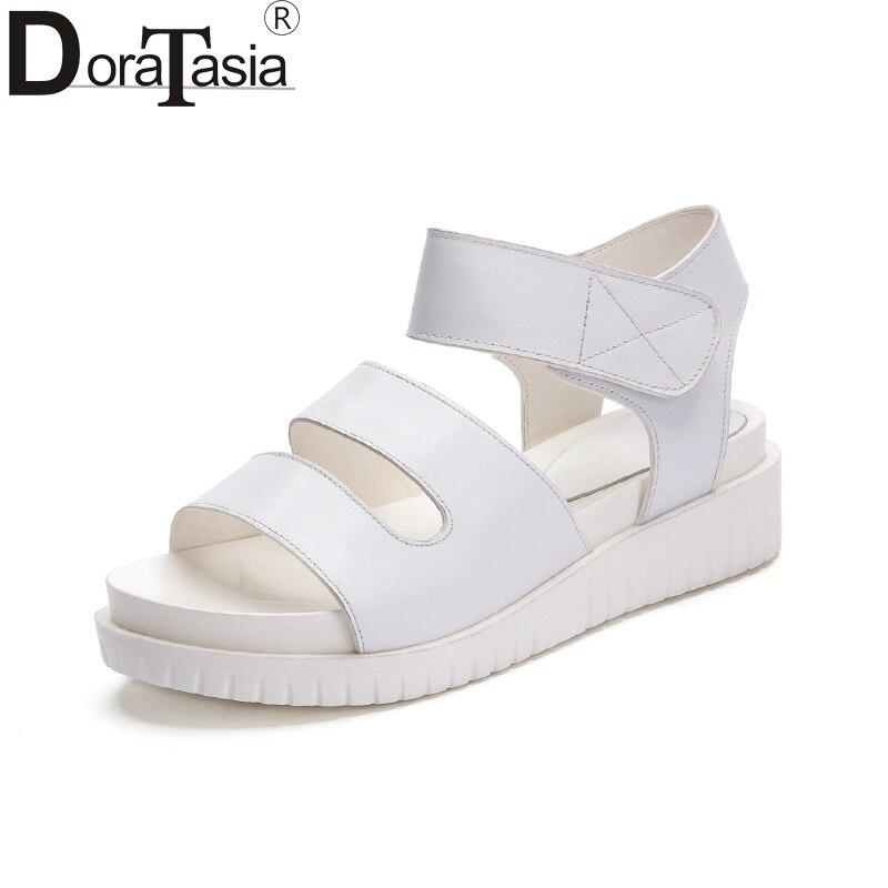 цена на DoraTasia 2018 New Brand Fashion Real Leather Hook&loop Sandals White Med Heels Shoes Woman Platform Women Casual Shoes