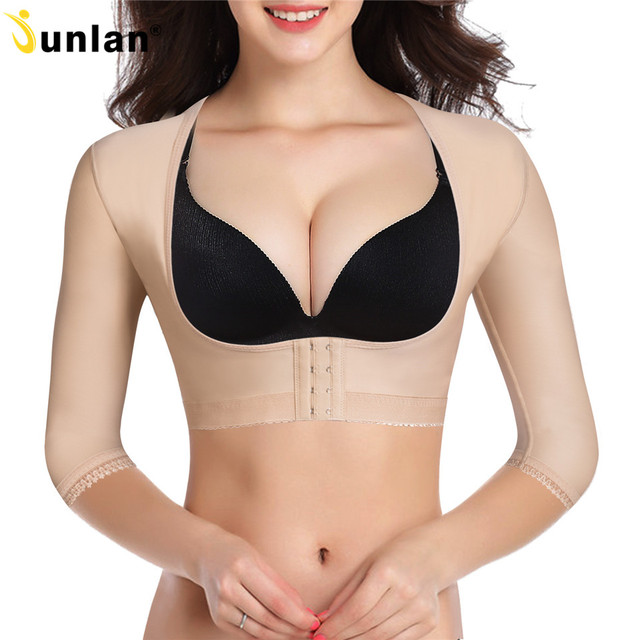 Junlan women arms 슬리밍 쉐이핑 탑스 백 팻 감소 후크 바디 컨트롤 셰이퍼 고탄성 바스트 리프터 shapewear
