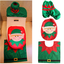 3pcs/set Hot Selling Green Xmas Santa Toilet Seat Cover Set Happy New Christmas Party Decoration(China)