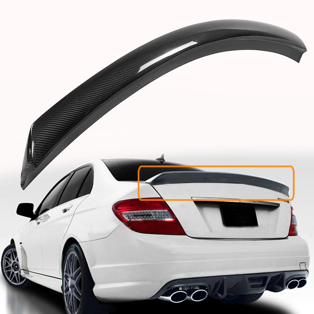 W204 C250 <font><b>C300</b></font> C63 Real Carbon Fiber Car <font><b>Rear</b></font> Trunk <font><b>Spoiler</b></font> Wing For <font><b>Mercedes</b></font> For <font><b>Benz</b></font> 2008-2014 4 Door V Style Wing Spolier image