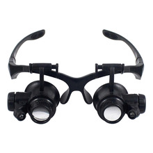 Wearing Style Magnifier 10X 15X 20X 25X magnifying Glass Double LED Lights Eye Glasses Lens Loupe Jeweler Watch Repair Tools