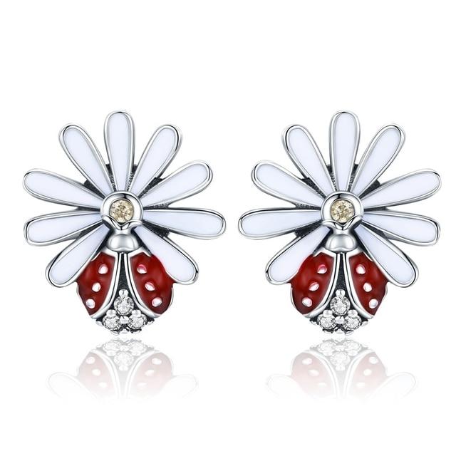 925 Sterling Silver Daisy Flower Red Ladybug Stud Earrings