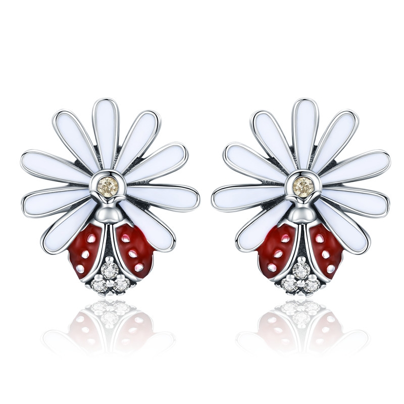 BAMOER Authentic 925 Sterling Silver Daisy Flower Red Ladybug Stud Earrings for Women Fashion Earrings Jewelry Gift SCE459 bamoer original 925 sterling silver dazzling daisy flower stud earrings for women jewelry pas434