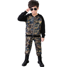 2017 Spring Fall Kids Camouflage Clothes Set Boys Lengthy Sleeve Hooded garments Youngsters Tracksuit Go well with four 6 eight 10 11 12 13 14 Years