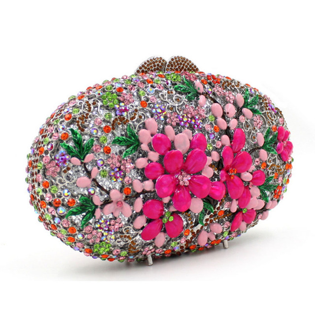 XI YUAN BRAND women New fashion luxury oval full diamond crystal purse female flowers evening bag lady Day Clutches Minaudiere