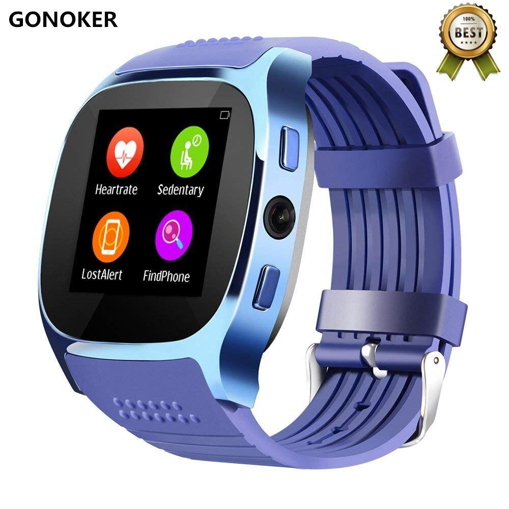 GONOKER Bluetooth Smart Uhr Mit Kamera Schrittzähler Facebook Whatsapp Unterstützung SIM TF Karte Für Android Telefon PK Q18 DZ09 A1