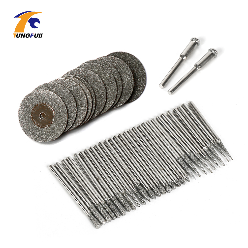 Tungfull Tool 42Pcs Dremel Accessories Diamond Burs Mini Cutting Discs Power Tool Accessory For Electric Drilling Machine
