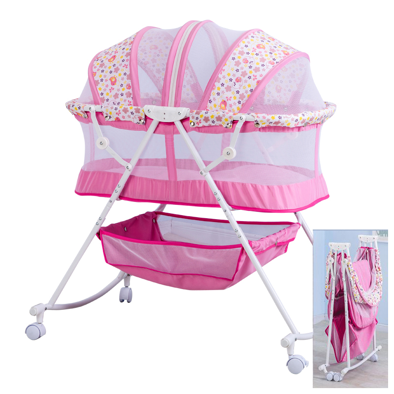 baby bed Cradle bed With mosquito net, steel frame foldable baby cirb, portable newborn baby rocking bed with 4 lockable wheels