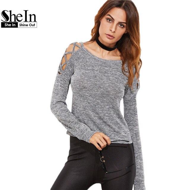 SheIn Womens Long Sleeve Tops Womens Clothing Autumn Casual Tee Shirt Grey Marled Crisscross Hollow Out Open Shoulder T-shirt