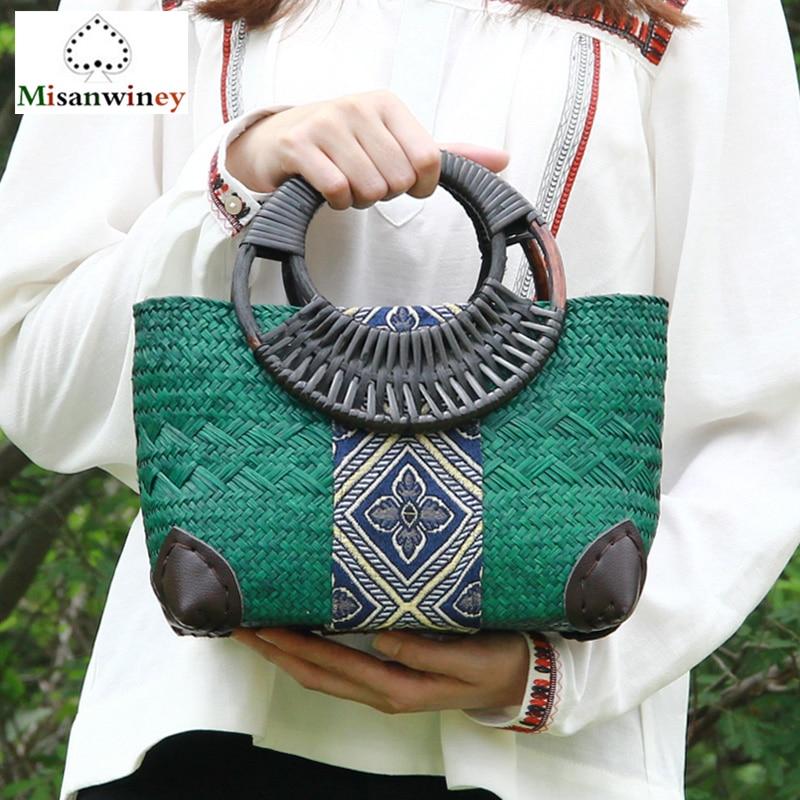 цена 2018 New Bali Trending Women Tote Bag Ethnic Natural Grass Rattan Woven Bamboo Bag Clip Style Handbags Handmade Rattan Bag Bolsa в интернет-магазинах