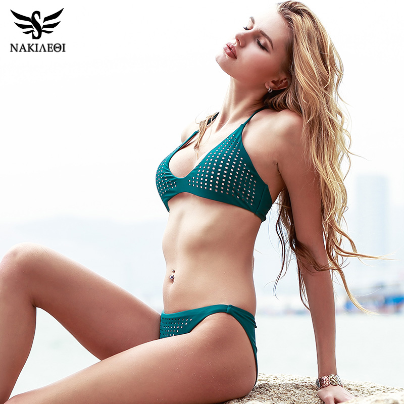NAKIAEOI 2018 Arrival Sexy Bikinis Women Swimwear Swimsuit Brazilian Bikini Set Halter Top Bathing Suits maillot de bain femme