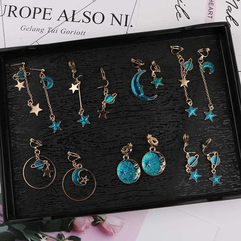 Korea Style Asymmetrical Fresh Enamel blue Star Moon Planet  Circle Clip on Earrings Non Pierced For Girl Women Party Gift