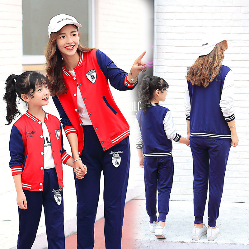 Children's Garment 2017 Autumn Parenting Dress Girl Baseball Serve Motion Suit Korean Leisure Time Twinset 2017 new pattern small children s garment baby twinset summer motion leisure time digital vest shorts basketball suit