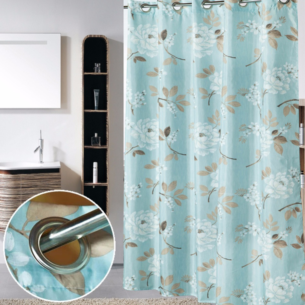 Luxury bathroom curtains - 180x200cm Luxury Super Thicken Waterproof Fabric Hookless Shower Curtain Liner For Bathroom Curtains Washable Heavy Weighted Hem