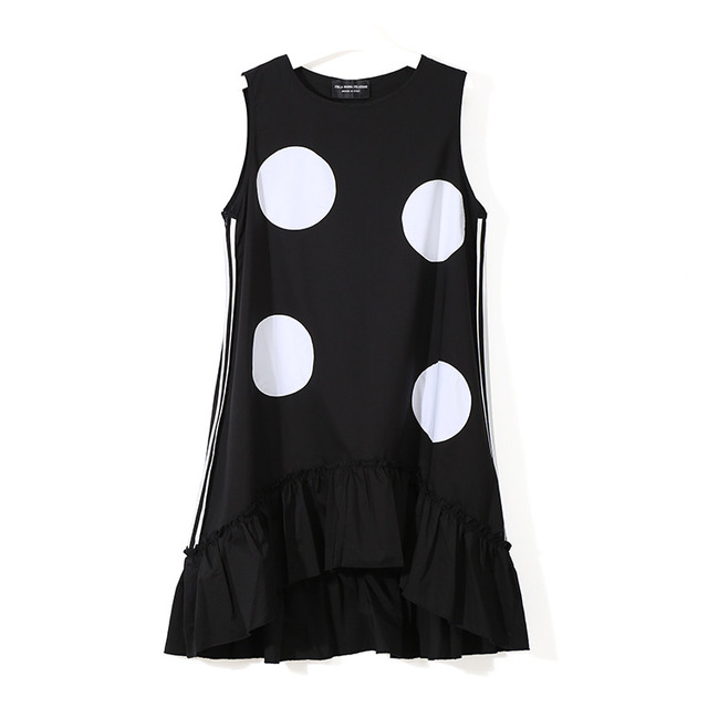 2018 Dress Style Summer Women Black Sun Dress Large Dots Print Sleeveless Ruffles Hem Straight Girls Cute Midi Tank Dress 1193