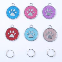 Cute Pet Accessories Aluminum Alloy Cute Footprint Pet Tag Lovely Dog Harness Identity Card Anti-Lost Frame Card(China)