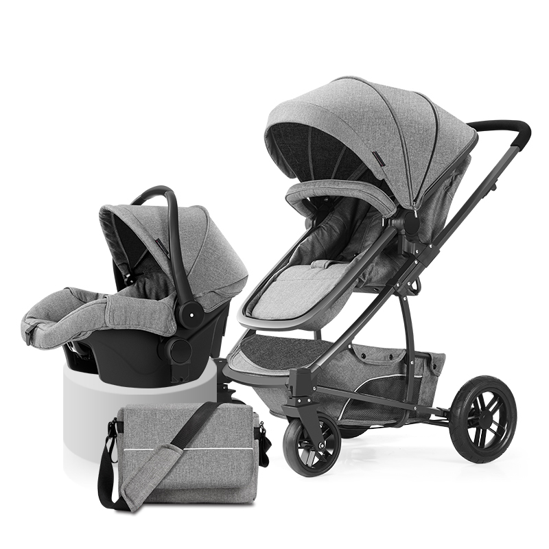 Fashion Highview Baby Stroller 2 in 1 Pushchair Basket 4 Wheel Suspension Folding Baby Carriage Can