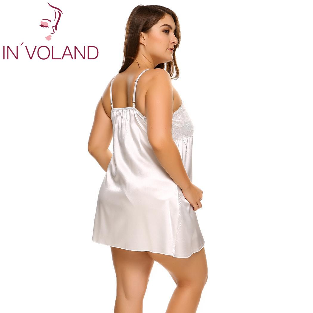 INVOLAND Plus Size Sleepwear Split Lace Satin Chemises Nightgown Solid Spaghetti Strap Home Dress Patchwork Nightwear L-4XL 1
