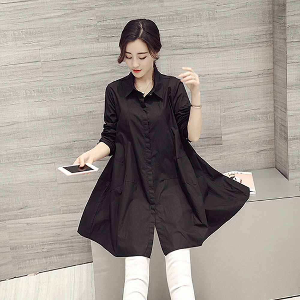 a816e37e4abf ... Womens Tops and Blouses 2018 Long Sleeve White Shirts Tunic Button  Ladies Long Top Clothes Loose ...