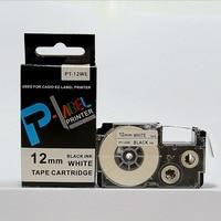Comapatible label tape 12mm black on white PT-12WE XR-12WE for label maker EZ Label
