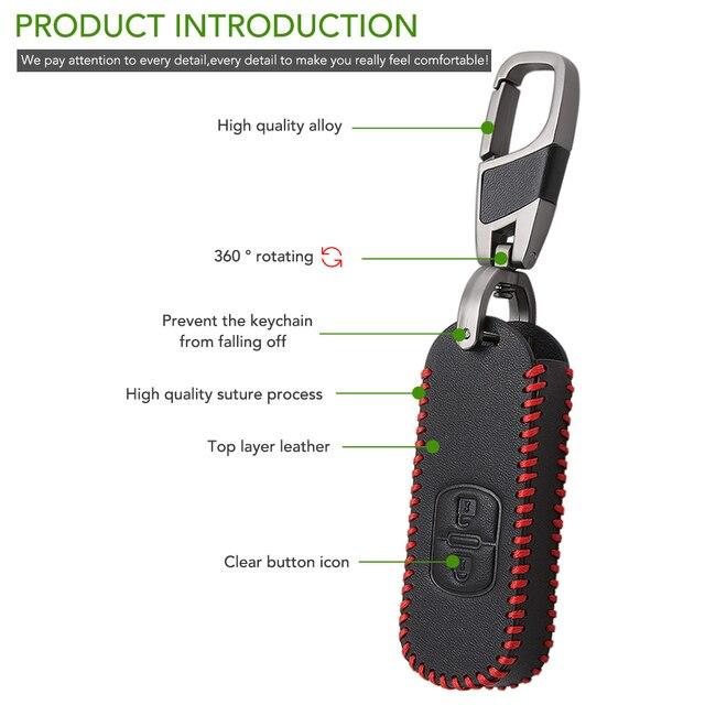 VCiiC Funda de cuero de llave de control remoto para coche para Mazda 2 3 6 Axela Atenza CX-5 CX5 CX-7 CX-9 2014, 2015, 2016, 2017 Smart 2/3 botones