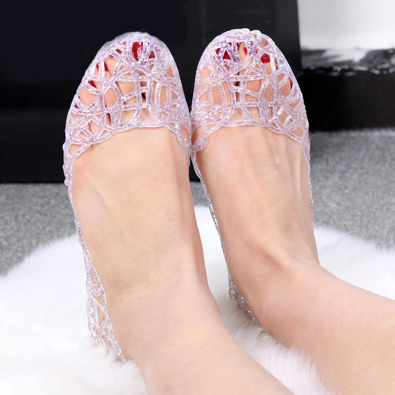 New Jelly Sandals Women Hollow Out Mesh Flats Crystal Bling Casual Shoes Female Fashion Breathable Comfort Ladies Shoes