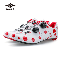 Santic 2018 Pro Racing Team Road Cycling Shoes Men Ultralight Carbon Fiber Bicycle Sneakers Breathable Self-Locking Bike Shoes