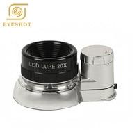 2X LED Illuminated Jewelry Magnifier, Pocket Microscope Magnifying Jewelers Eye Loupe Glasses(LED Currency Detecting/Jewelry)