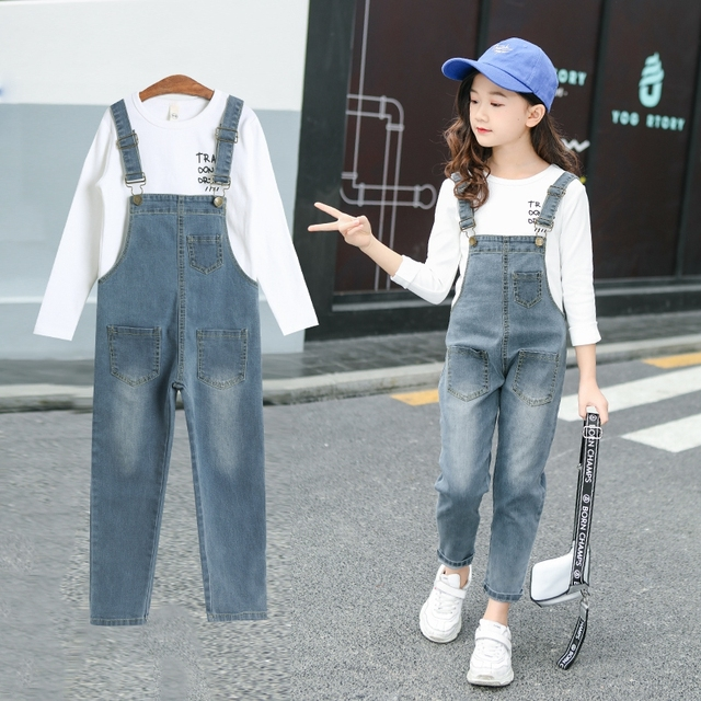 9fa1c0f1b74c Spring Autumn 2019 Toddler Girls Denim Overalls For Girls Jumpsuits Romper  Trousers Kids Baby Cotton Dungarees Jeans Holes 4-17T