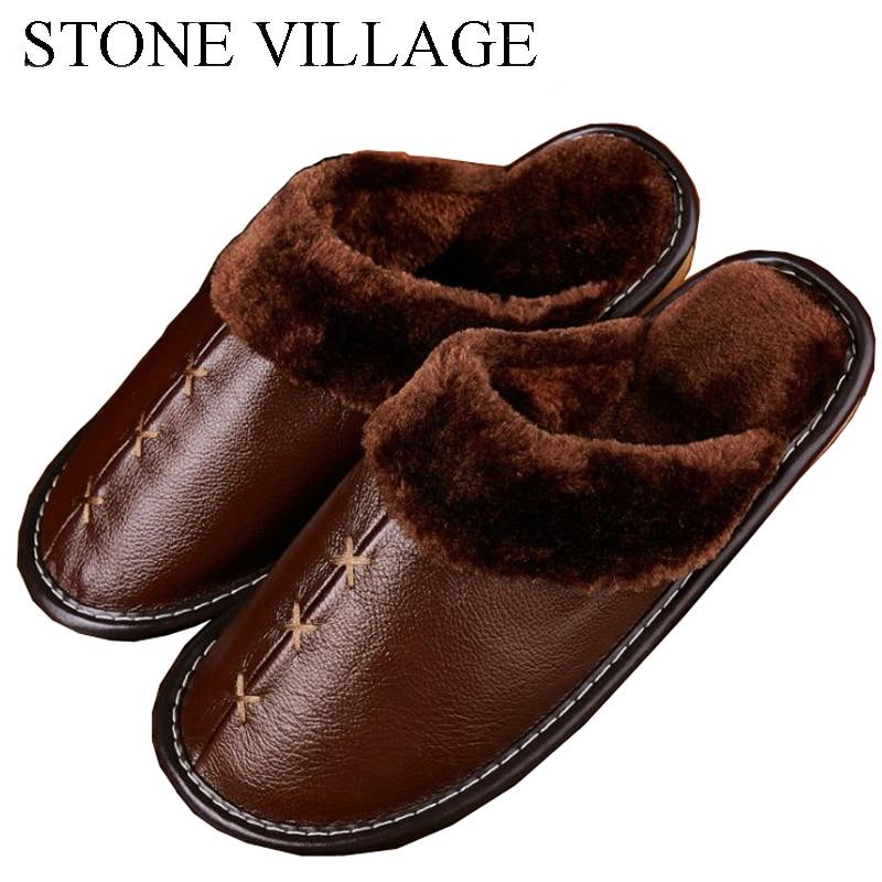 2018 Warm Genuine Leather Slippers Lovers Home Floor Indoor Shoes Non-Slip Platform Winter Men Slippers Flat Women Slippers size 35 44 genuine leather home slippers high quality women men slippers non slip cool indoor shoes men