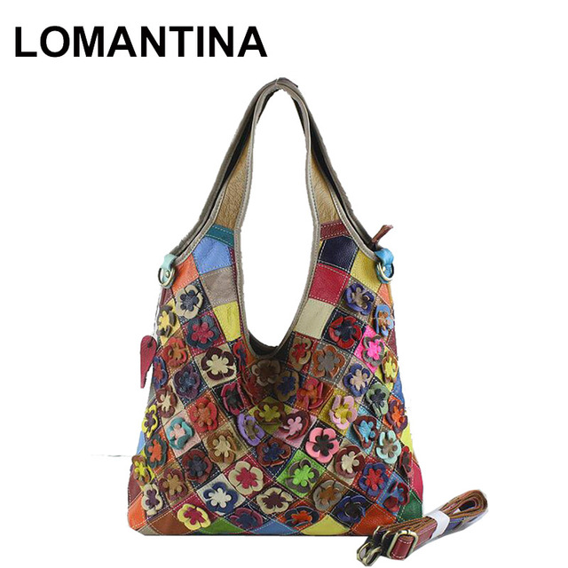 Real 100 Genuine Leather Bags Women Hobo Patchwork Flower Handbags Las Tote