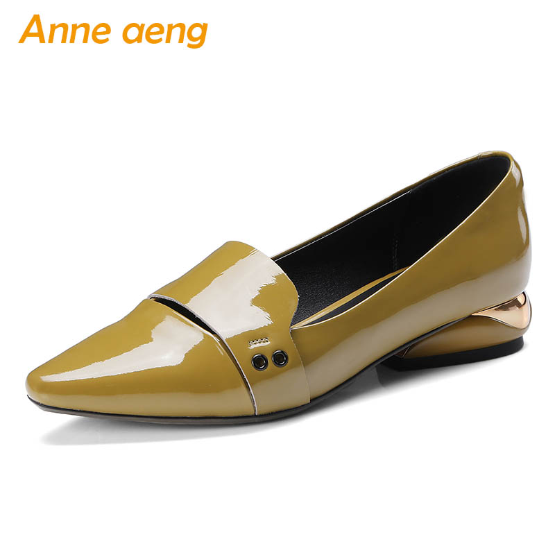 2019 New Autumn/Spring Genuine Leather Women Pumps Low Heel Square Toe Fashion Sexy Office Ladies Women Shoes Yellow Pumps      2019 New Autumn/Spring Genuine Leather Women Pumps Low Heel Square Toe Fashion Sexy Office Ladies Women Shoes Yellow Pumps