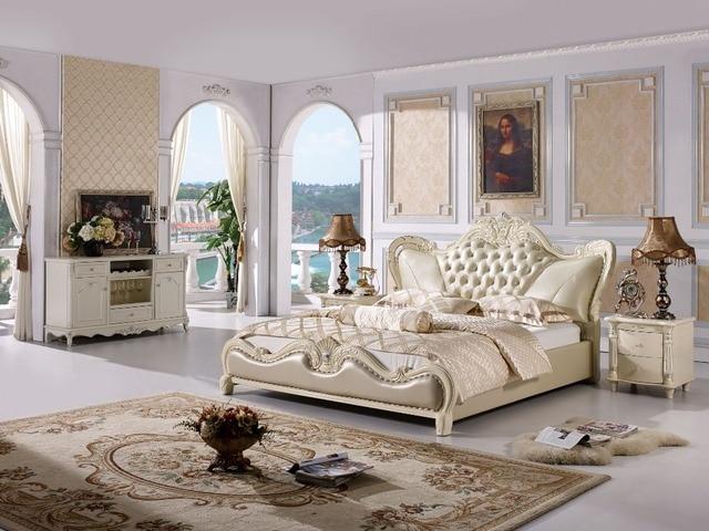 Design Slaapkamer Meubilair : De moderne designer lederen zacht bed grote dubbele slaapkamer