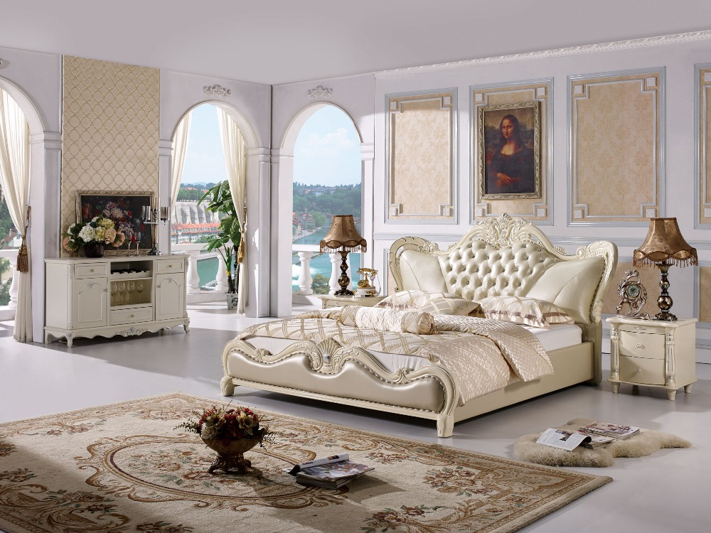 Buy the modern designer leather soft bed for American bedroom furniture designs