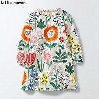 Mały maven dzieci sukienki dla dziewczynek 2017 jesień new baby dziewczyny ubrania trawy słonecznikowy drukuj sukienka S0282