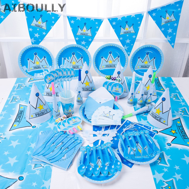 90pcs Luxury Kids Birthday Decoration Set 1st Theme Party Baby Prince Princess Brithday
