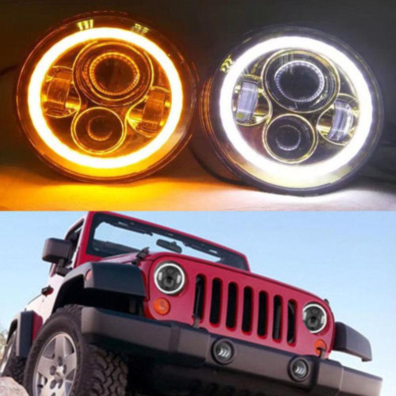 Вранглер светодиодные фары Лампа с гало глаза Ангела кольца DRL и поворотник фары для Jeep JK в ЖЖ защитник Земли СИДЖЕЙ Ровер