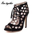New fashion cut-outs lace up women high heels sandals summer gladiator shoes woman party wedding ladies girl's sandals peep toe