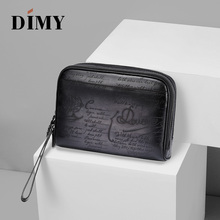 DIMY Handmade Genuine Leather LargeLDay Clutches Bags For Men Handbag Brand Vintage Business Double Zipper Pouch Clutch Bag Coin