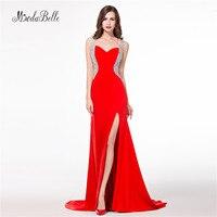 2017 Gerçek Görüntüler Kırmızı Abiye Uzun Mermaid Abiye giyim Kristal Backless Seksi Resmi Elbiseler Düğün Için Vestiti Da Sera