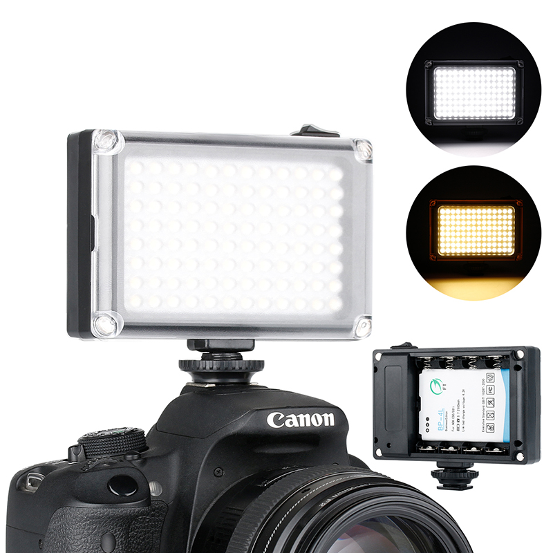 Ulanzi 96 On Camera LED Videolamp Photo Studio DSLR-verlichting met Cold Shoe Mount voor Nikon Canon Sony Pentax Fill Light