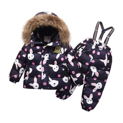 -30 degrees winter children's warm suit Girls red waterproof ski suit Boys windproof hooded down jackets + thick duck down pants