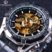 Forsining Golden Skeleton Wristwatch Steampunk Design Men S Automatic Watch PU Leather Male Clock With Luminous