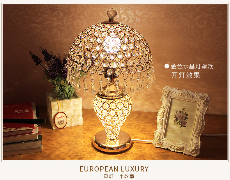 2018 Time Limited Top Fashion Table Lamps European Style Fashion Upscale K9 Crystal  Shade Golden Color Table Lamp 85 265V T081 In Desk Lamps From Lights ...