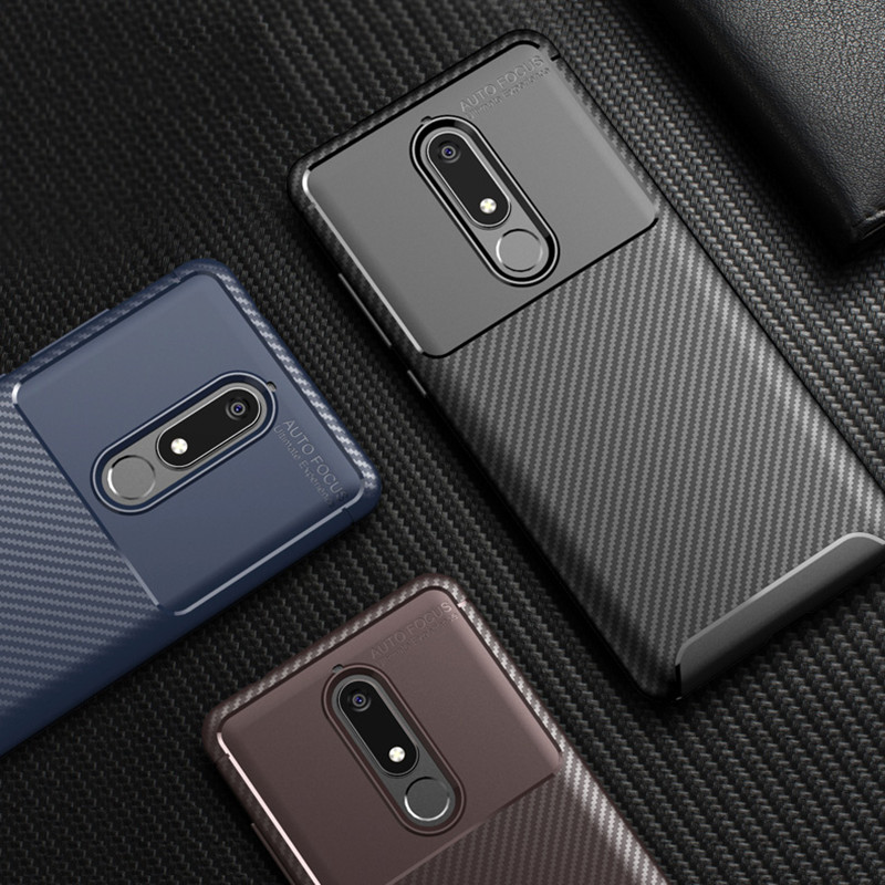 Luxury Carbon Fiber Phone Case On For Nokia 5.1 3.1 2.1 Shockproof Soft Silicone TPU Cover For Nokia 5.1 Plus X5 X6 Case Fundas