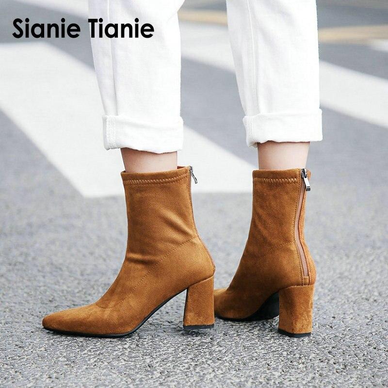 58cebc65b Sianie Tianie tacones altos zip back moda estilo europeo mujer botas  elástico calcetines Botines ...